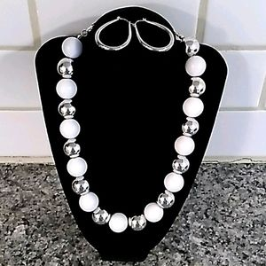 Macy's White & Silver Beaded Necklace/Earring Set.